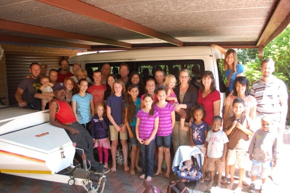 Grace Church of Orange South Africa Mission Team with the 1Hope team (in our driveway)!!  God is so good!