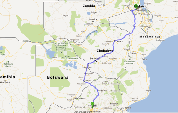 Their route- Pretoria, South Africa to Lilongwe, Malawi (2136 km/1327 mi)