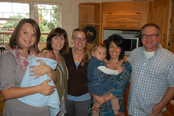 The team arrives early Friday morning.  1Hope and GCO team greet each other at the Mack home: (L to R) Karlien and new baby Ben, Paula, Marda, Susan (me) and Pastor Doug