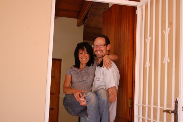 "Our ""moving in"" ritual, Randy carrying Susan over the threshold."