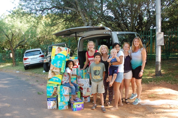 Donations of baby supplies were loaded into our van to be taken directly to the baby home.